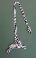 pewter pendant, hare design, hand made in Cornwall with surgical steel chain