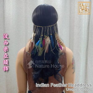 Feather Headdress Indian Accessories Native Head Band Handmade handcraft Cosplay