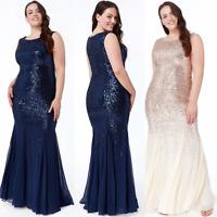 Goddiva Chiffon Inserts Sequin Maxi Evening Dress Wedding Ballgown Prom Party