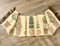 "Vintage Tapestry Table Runner 72"" x 12"" w/ Topiaries Design"