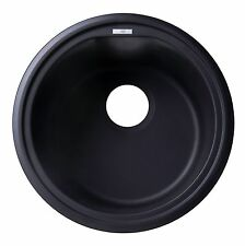 "ALFI AB1717UM-BLA Black 17"" Undermount Round Granite Composite Kitchen Prep Sink"