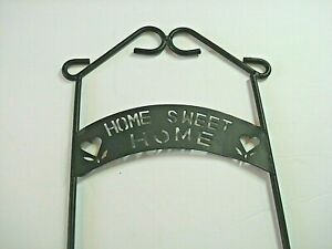 vtg  Wrought Iron wall hanging single Plate display Rack black Home sweet Home