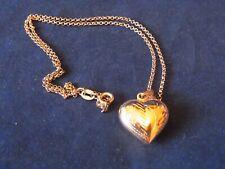 GOLD TONE 925 PUFFY HEART PENDANT SWEETHEART PENDANT GOLD COLOURED 925 PENDANT