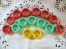 Vintage Crafts Macrame Plastic Rings x15  Red Green Yellow 1