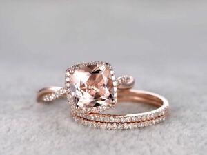 3.00 Ct Cushion Cut Morganite Infinity Wedding Trio Ring Set 14K Rose Gold Over