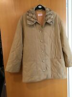 Betty Barclay Ladies Coat Size 16 But Very large Dark Beige Removable Fur Colla