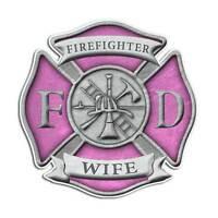 Firefighter Wife Maltese Cross Sticker - Pink Girl Mom Truck Decal