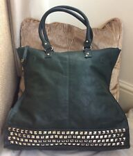 BRAND NEW WITH TAGS FAUX LEATHER DARK GREEN LARGE SHOPPER BAG/HANDBAG