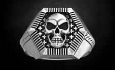 Ring in Oxidized 925 Sterling Silver Mens Jewelry Ring with Unique Skull Bikers