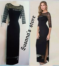 NWT bebe Logo Lace Trim Maxi Dress SIZE XL detailed with chic striped lace $102