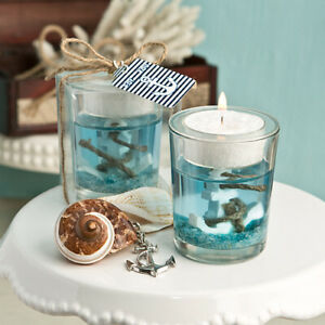 10-70 Nautical Themed Gel Candle Holder With Anchor Design Wedding Party Favor