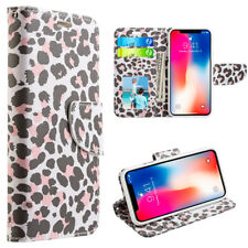 for iPhone X - Lady Leopard Credit Card ID Wallet Diary Pouch Holder Case Cover