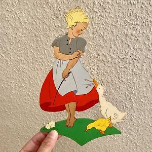 Märchen-Holzbild ANTIK 1940er Handgemaltes Mertens-Kunst Mädchen 23cm Deutsch