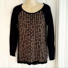 AB STUDIO Womens Sweater Size XS Houndstooth Black Tan Pattern Scoop Neck