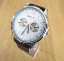 BRAND NEW MENS SLIM HENLEY WATCH SILVER DIAL BLACK LEATHER STRAP DISPLAY DIALS.