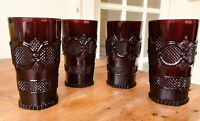 """Four AVON 1876 Ruby Red CAPE COD Tumbler Water Glass 5.5"""""""