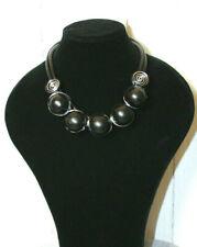 Kette mit Metall Halskette Lagenlook- Kette Collier Holz Neu