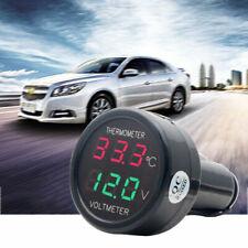 Auto LED Zigarettenanzünder Spannungsanzeige Voltmeter Thermometer DC 12-24V