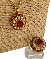 Vintage Necklace Pendant & Ring Set Red Gold Tone Rhinestone Long Chain Retro
