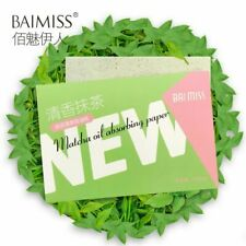 100PCS Natural Matcha Oil Blotting Paper Oil Absorbing for Girls Ladies Women