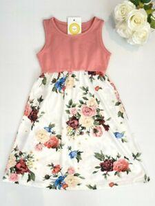 Size 2/3/4/6/8 years new girls dress pink & white rose floral tank girls dress