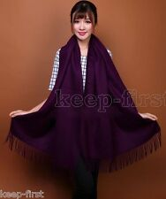 Fashion Womens Purple synthesis Cashmere Solid Long Pashmina Shawl Wrap Scarf