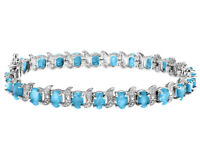 Blue Topaz Bracelet with Diamonds 12.0 Carat (ctw) in Sterling Silver