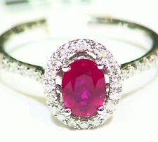 1.26CT 14K Gold Natural Round Cut White Diamond Ruby Vintage Engagement Ring