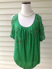 NEW Women's size XS Anthropologie Embroidered Summer Green Cotton SHIRT