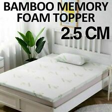 BAMBOO MEMORY FOAM MATTRESS TOPPER THICK WITH ZIPPED COVER 2.5CM THICKNESS