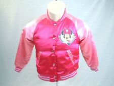 Disney Store Minnie Mouse Varsity Bomber Jacket Girl Size 4 5/6 Jewel Buttons
