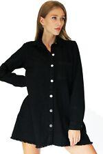 New JM Black Button Through Oversized Collar High Quality Denim Shirt Dress