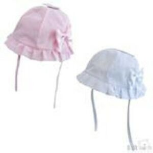BABY SATIN BOW SUN HAT WHITE & PINK FROM BIRTH TO 24 MONTHS