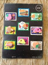 Old Vending Display Card Erasers Hamburgers Mushroom Ice Creams Strawberries Car