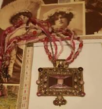 `VINTAGE LOOK GORGEOUS GLAZED ENAMEL BEADED-pink,purple ladies-PENDANT NECKLACE