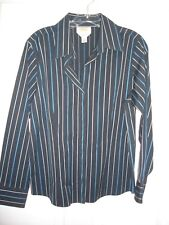 Talbots blouse size 12P 12 Petite LS EUC button navy blue stripe