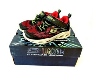 SKECHERS VORTEX-FLASH KIDS LIGHT UP TRAINERS UK SIZE 11.5 BLACK / RED BOXED