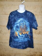 Tie Dye Shirt Indian Wolf Blue XL Gildan