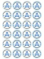 24 x Personalised Christening Baptism Baby Shower Boy Teddy Cake Cupcake Toppers