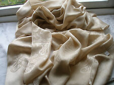 E383 Beige with Gold Beige Butterflies Deluxe Evening Lady Scarf Pashmina