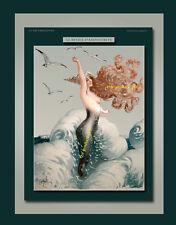 MERMAID WITH GULLS semi-nude siren vtg La Vie Parisienne 8x10 Gerbault Art print