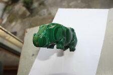 Malachite Hippopotame Malachite Pierre Précieuse Naturelle Sculptée 331 Grammes