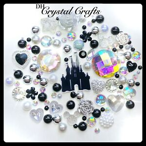 Disney Princess Castle Theme Flatback Gems Cabochons & Pearls Black & White #5