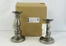 New Longaberger Pair Of Antique Pewter Candlesticks Holder #71580
