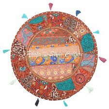 """Embroidered 22"""" Round Throw Cushion Patchwork Cotton Ethnic Floor Cushion Cover"""