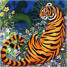 "Hermes Luxury Cashmere Silk Shawl Scarf Muffler Tiger Animal Auth 56""x56"" Rare"