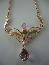 ANTIQUE VICTORIAN 9K ROSE and GREEN GOLD NECKLACE AMETHYST DANGLE and ACORN!!!