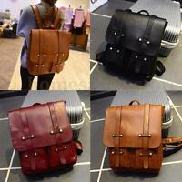 Vintage Men Women Leather Backpack Shoulder Laptop Bag School Travel Rucksack
