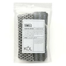 2pcs 36'x9' Soft-Dual-Sided Exfoliating Face and Body Wash Cloth Charcoal infuse