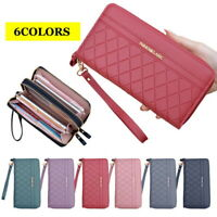 Double Zip Around Wristlet Wallet Cellphone Clutch Long Purse Wallet for Women